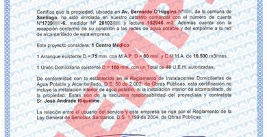 certificado de dotacion de agua potable y alcantarillado aguas andinas